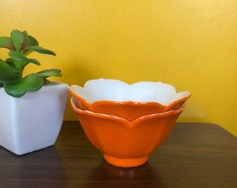 Orange porcaline Lotus Bowls *Set of 2*