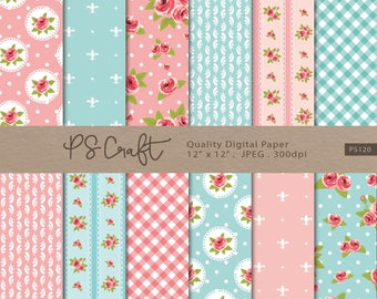 Shabby Chic Digital Paper, SEAMLESS Pink and Blue Shabby Chic Digital Papers, Shabby Chic Digital Background, Roses