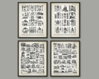 Architecture Print Set of 4 - Architecture Student Gift - Building Design - Classic Buildings - Doric Ionic Corynthian Gothic Architecture