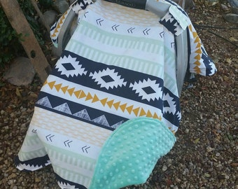 Baby Car Seat Canopy - Baby Car Seat Cover - Aztec Car Seat Canopy - Tribal Canopy - Navy Mint Gold Canopy - Baby Shower Gift