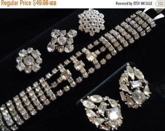 ON SALE Vintage Rhinestone Jewelry Lot Wide Chunky Bracelet, Earrings, 3 Scatter Pins 1950s 50s Collectible Costume Jewelry