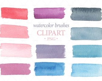 WATERCOLOR BRUSHES CLIPART, png clipart watercolor, brush watercolor, logo design, download png, hand painted overlays, brushes set, strokes