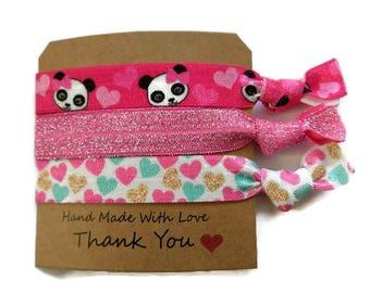 Panda Hair elastic set - Pink yoga hair ties - Pink Panda hair elastic set - Cute Panda glitter elastic - Panda friendship bracelet gift