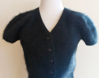 Black Angora Sweater 80's does 50's Sweater Girl