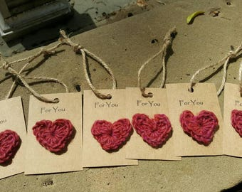 Crochet heart gift tag