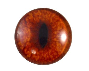 30mm Red Fox Glass Eye for Animal Pendant Jewelry Making or Realistic Taxidermy Doll Eyeball Flatback Handmade Circle Cabochon