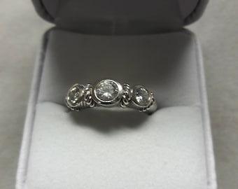 Retired Judith Ripka Sterling Silver Cz Ring