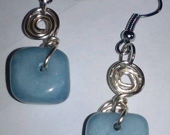 "2"" Blue Marble Spiral Dangle Earrings"
