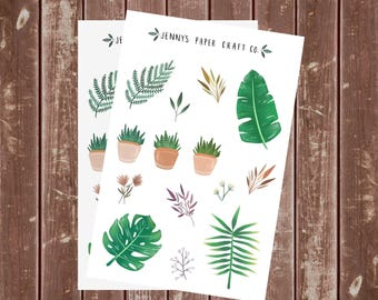 2-pack Tropical Leaves and Plants Collection Stickers for Planner or Journal