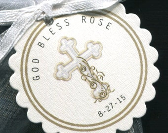 Personalized Baptism Favor - Christening Favor - Communion Favor - Tags with Organza Bags - Gold Cross