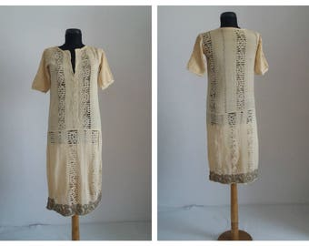 Vintage 1920s dress | 20s cream silk dress | 1920s silk( borangic ) dress