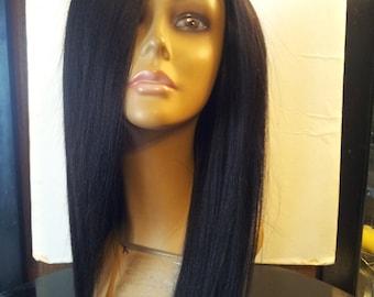 L@@K Sale! Custom U-Part Yaki Straight 100% Human Hair Wig