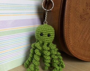 Green Octopus Key Ring (keyring), Crochet Handbag Accessory/Charm.