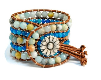 Blue Heaven * 5 strand Statement Wrap Bracelet. Boho Style. Bohemian Jewelry. Semiprecious stones. Gift for her. Unique Design.