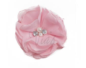"Light Orchid Pink : 3"" Chiffon Pearl Rhinestone x 1 | Craft Flower for Headband DIY Kits | Girls Accessories Baby Showers"