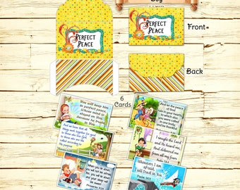 Childrens Christian Scripture Memory Cards, Bible Verses, Prayer Cards, Vintage Cards, Lunch Box Notes, Gift Card, Printable Download