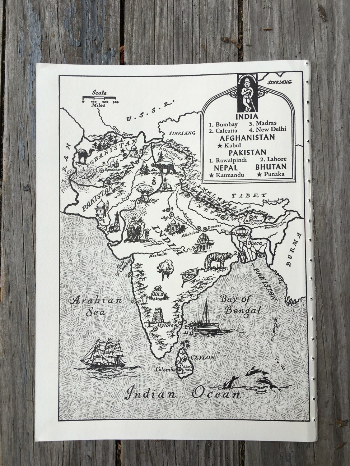India Map Art Old Map Print