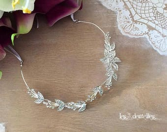 Pearl rhinestone necklace * 3 lace *.