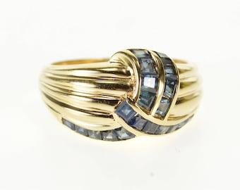 14k Princess Sapphire Channel Criss Cross Scalloped Ring Gold