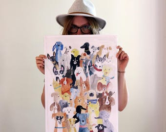 Huge dog print, A2 illustration