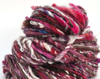 Handspun Yarn - Lovingly Spun - Bulky Single - Raspberry Swirl - 68 Yards