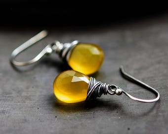 Yellow Chalcedony, Drop Earrings, Chalcedony Earrings, Lemon Yellow, Sunshine, Sterling Silver, PoleStar, Mustard, Saffron, Wire Wrapped