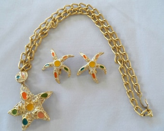 Starfish pendant & earrings set goldtone and enamel with chunky chain Vintage