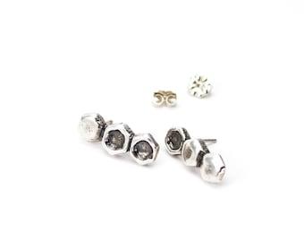 Silver Hexagon Studs, Silver Hexagon Post Earrings, Silver Pebble Studs, Silver Stud Earrings, Silver Honeycomb Studs, Silver Post Earrings