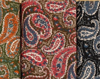 Paisley pattern Corduroy Fabric, 3 colours, by Yard
