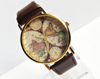 Mens wrist watches etsy genuine leather map watch vintage style leather watch women watchesmens watch gumiabroncs Image collections