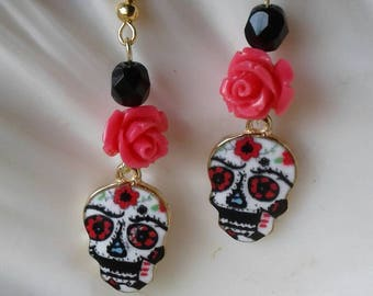 Sugar Skull Rose Earrings