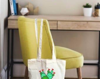 Cactus bag, tote bag canvas, cactus gift bag, cactus gift, canvas tote bag, tote canvas bag, free hugs, succulent bag, succulent gift, cacti