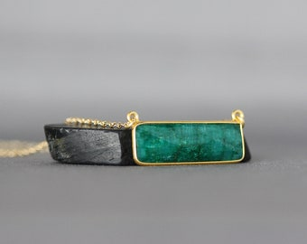 Emerald Necklace - Emerald and Gold - Layering Necklace - Emerald Jewelry - Bar Necklace Gold - Green Gemstone Necklace - May Birthstone