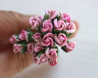 Pink mulberry paper roses, craft flowers