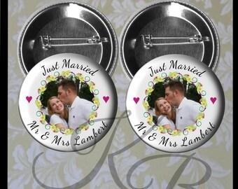 "Photo Honeymoon Couple Buttons, 2.25"" Custom Just Married Photo Pins, Mr and Mrs  Honeymoon Couple Buttons, Wedding Keepsake"