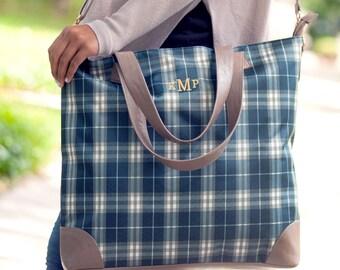 Monogrammed Plaid Shoulder Bag | Middleton Plaid