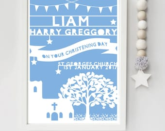 Christening Gift - Baby Boy - Paper Laser Cut - Craft - Print - Personalised