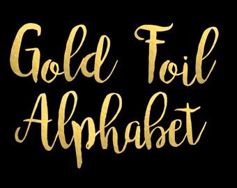 Gold Foil Alphabet Clip Art Gold foil Letters Gold Foil Font Gold Alphabet Letters Gold Foil Numbers 68 Elements Instant Download