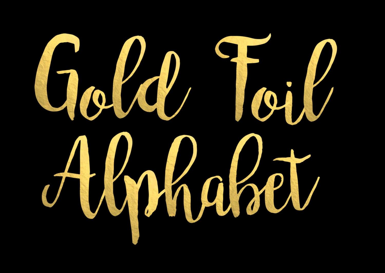 Gold Foil Alphabet Clip Art Gold foil Letters Gold Foil Font