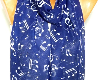 Scarf, Shawl, Music Note Printed Scarf, Shawl with Music Note Pattern, Womens Fashion Accessories, Lightweight Summer Scarf, Gift for her