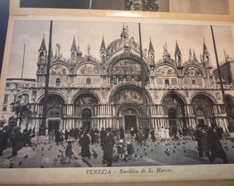 Vintage Photo - Venice St Marks Basilica -1928 duotone black and white card stock - beautiful view - gift for travelers, use for scrapbook