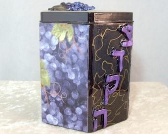 Decorative Tzedakah Box - Concord Grapes