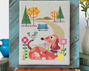 Dog Park - Satsuma Street modern cross stitch pattern PDF - Instant download