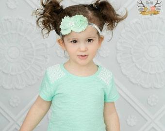 Posh Mint & Silver Glitter Baby Headband - New Year's - Newborn Infant Toddler Girls Adult Wedding Pastel Green