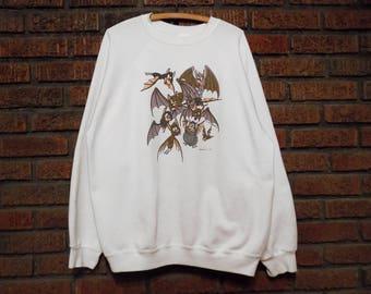 Vintage Tim Paul Bat Art Glow in the Dark Sweatshirt Men's L / Women's Oversize