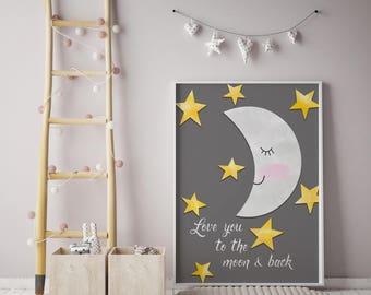 Nursery Print | Moon Stars Print | Nursery decor | Love you to the moon and back | Kids room decor |