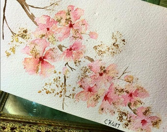 Custom Cherry Blossoms with Gold Leaf