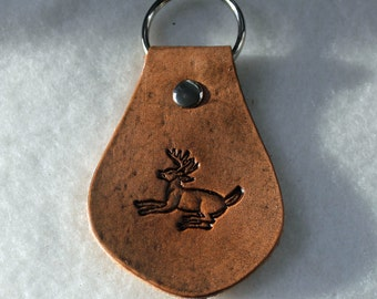 Leather Key Fob - Jumping Deer