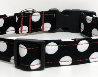 Black with White Polka Dots.......Handmade Dog Collar