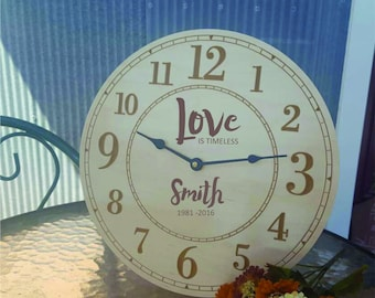 Personalized Anniversary Clock, Wedding Anniversary Gift, Gift for couple, Gift for parents, 25th Anniversary, 50th Anniversary, Engraved
